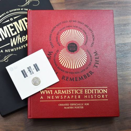 Personalised WWI Armistice Edition Newspaper Book